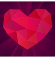 Polygonal heart on purple background Ruby vector image