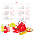 Calendar for 2013 with a lot of food vector image