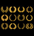 floral gold wreathes collection vector image