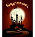 Halloween Background with Castle and Bat vector image