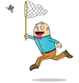 Man Catching butterfly vector image