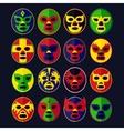 Mexican wrestling Masks set vector image