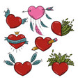 set of different valentines hearts vector image