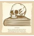 Sketch of human skull on book vector image
