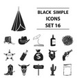 wild west set icons in black style big collection vector image
