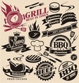 Collection of grill signs symbols labels vector image vector image