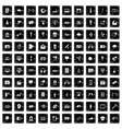 100 multimedia icons set grunge style vector image