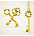 old golden key dangling chain links vector image