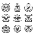 Eagle emblems icon set black vector image