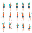 business woman in various simple exercise vector image