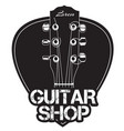guitar neck icon with guitar shop text vector image