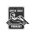 Karting Club Speed Race Black And White Logo vector image