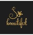 Queen golden text for card Modern brush vector image