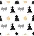 hand drawn Christmas tree gift ball seamless vector image vector image