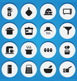 set of 16 editable food icons includes symbols vector image