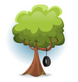 funny spring tree with swing tire vector image