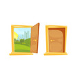 closed and opened door with sunset landscape vector image