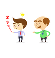 boss is happy that businessman can make more money vector image