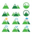 Mountain green icons set vector image vector image