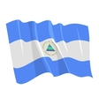 political waving flag of nicaragua vector image vector image
