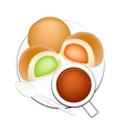 Hot Coffee with Bun Bread Filled with Cream vector image vector image