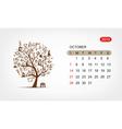 calendar 2012 october Art tree design vector image vector image