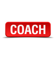 Coach red three-dimensional square button isolated vector image