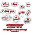 comic collection love and font 3d colored sound vector image