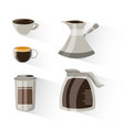 flat set icon with jar coffee maker and cup vector image