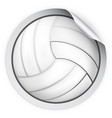 round sticker with volleyball ball vector image