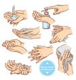 Sketch Hands Washing Hygiene Set vector image
