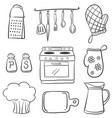 doodle of equipment kitchen set vector image