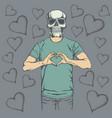 skull valentine day concept vector image