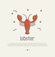 red lobster thin line icon seafood delicacy vector image