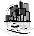 Luxury yacht and skyscrapers vector image