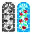 stained glass floral windows vector image vector image