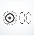 brake disk and brake pads vector image