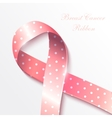 Breast cancer awareness pink ribbon on white vector image