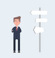 businessman standing and confused by direction vector image