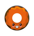 delicious donut dessert cute kawaii cartoon vector image
