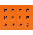 Flag icons on orange background vector image