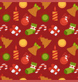 gift box sweet cane and christmas decorations in vector image
