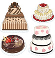 4 cakes vector image vector image