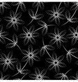 Seamless black and white dot pattern with flowers vector image