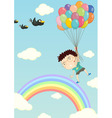 Floating with balloons vector image vector image