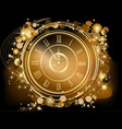 Gold Happy New Year background with clock vector image
