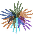 teamwork color hands around vector image