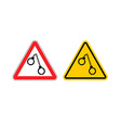 Warning sign arrest attention Dangers yellow sign vector image