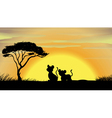tiger and cub in a beautiful nature vector image