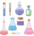Set of laboratory flasks cartoon vector image